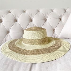 J. Crew Large Gold striped straw sun summer hat